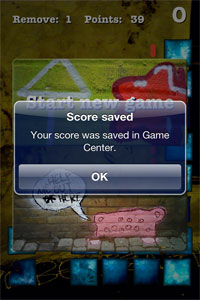 Socre saved in Game Center screen