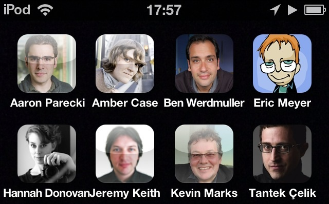 iPhone home screen with peoples avatars as icons