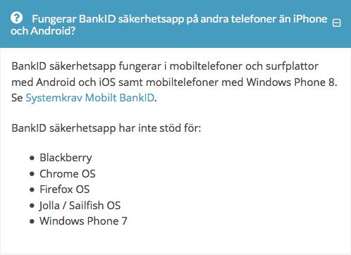 BankID säkerhetsapp har inte stöd för: Jolla / Sailfish OS